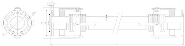 Фланцевый универсальный компенсатор - габаритный чертеж